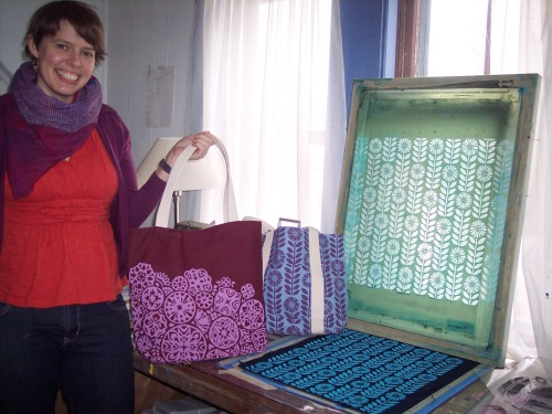 Eliza with bag and screen printing equipment